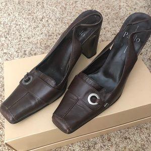 Brown sling back heel